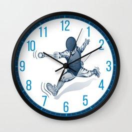 Fencer. Print for t-shirt. Vector engraving illustration. Wall Clock