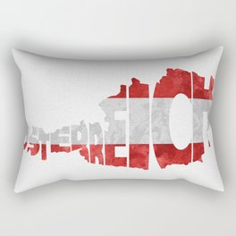 Austria (Österreich) Typographic World Map / Austria Typograpy Flag Map Art Rectangular Pillow