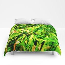 Fluid Painting 3 (Green Version) Comforters