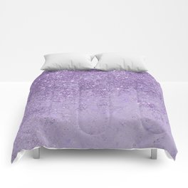Modern elegant lavender lilac glitter marble Comforters