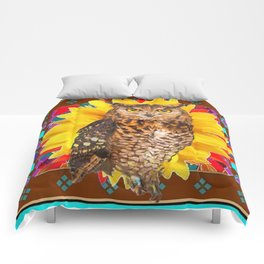 COFFEE BROWN SUNFLOWER ART DECO OWL Comforters