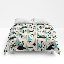 Mid Century Modern Cosmic Boomerang 726 Black Turquoise and Gray Comforters