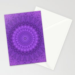 Sunflower Plum Boho Feather Pattern \\ Aesthetic Vintage Bohemian \\ Dark Violet Purple Color Scheme Stationery Cards