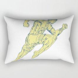 Muay Thai Fighter Kicking Side Drawing Rectangular Pillow