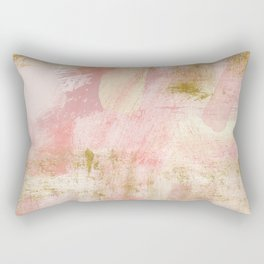 Rustic Gold and Pink Abstract Rectangular Pillow