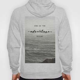 And So The Adventure Begins - Ocean Emotion Black and White Hoody