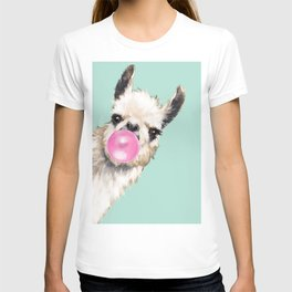 Bubble Gum Sneaky Llama in Green T-shirt