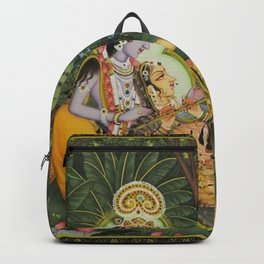 Indian Masterpiece: Radha Krishna in the garden by the stream with lotus flowers landscape painting Backpack