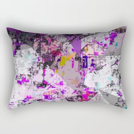 vintage psychedelic triangle polygon pattern abstract in purple pink yellow blue Rectangular Pillow