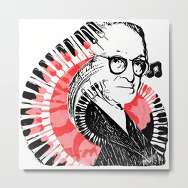 Pop Art Pugliese with Piano Keys and Carnation Metal Print