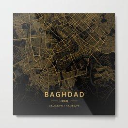 Baghdad, Iraq - Gold Metal Print
