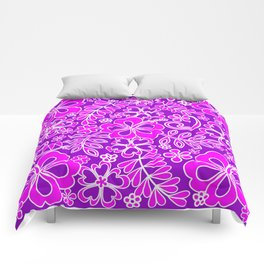 Hibiscus Pink and Purple Pattern Comforters