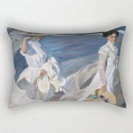 Joaquin Sorolla Y Bastida - Strolling along the seashore Rectangular Pillow
