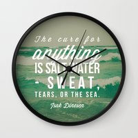 the cure Wall Clocks featuring Salt Water Cure by Olivia Joy St.Claire - Modern Nature / T