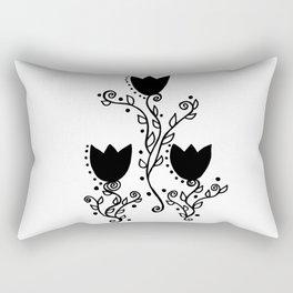 Three Tulips Doodle Art – Black Graphic Rectangular Pillow
