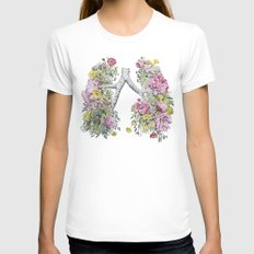Floral Anatomy Lungs White X-LARGE Womens Fitted Tee