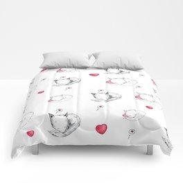 Love Fox Doodle Art Comforters