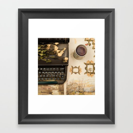 Little roses over an old typewriter and tea (Retro and Vintage Still Life Photography) Framed Art Print