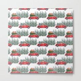 Corgis in car in winter forest Metal Print