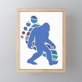 Funny Bigfoot Footprint Sasquatch Gift Silhouette Novelty Gift Framed Mini Art Print