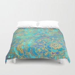 Sapphire & Jade Stained Glass Mandalas Duvet Cover