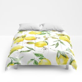 Watercolor lemons 8 Comforters