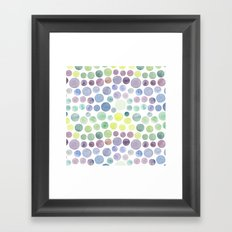 Dots purple and green Framed Art Print