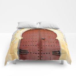Golden Red Door in Fes, Morocco Comforters