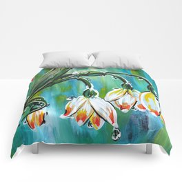 Drips on droopy flowers Comforters
