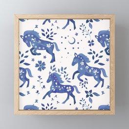 Delft Blue Horses Framed Mini Art Print