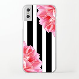 Pink roses on black and white stripes Clear iPhone Case