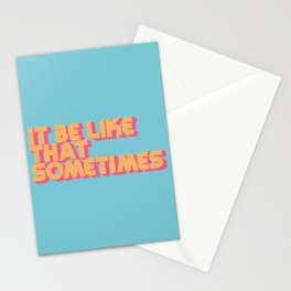 """""""It be like that sometimes"""" Retro Blue Stationery Cards"""
