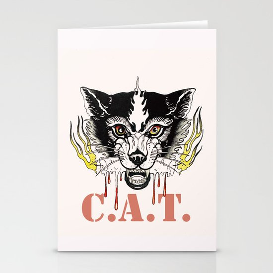 Space Cat King Fire Stationery Cards