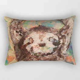 Deconstructed three-toed sloth hanging in a tree Rectangular Pillow