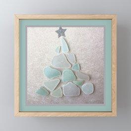 Sea Foam Sea Glass Christmas Tree #Christmas #seaglass Framed Mini Art Print