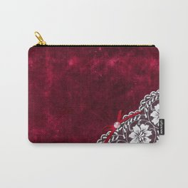 Elegant white Vintage Lace with pearl and ribbon on dark red grunge backround Carry-All Pouch