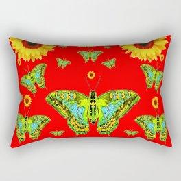 RED COLOR YELLOW SUNFLOWERS GREEN MOTHS Rectangular Pillow