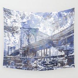 Brooklyn Bridge New York USA Watercolor blue Illustration Wall Tapestry