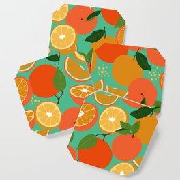 Oranges on Blue Green Coaster