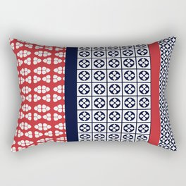 Japanese Style Ethnic Quilt Blue and Red Rectangular Pillow