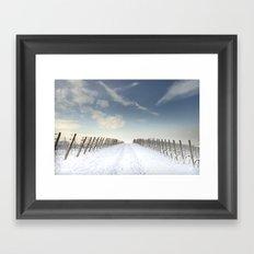 Vineyards in the snow Framed Art Print