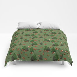 Foxes in the forest Comforters