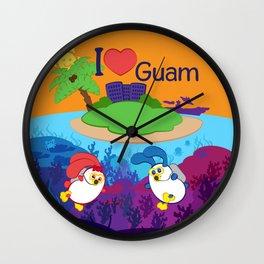 Ernest & Coraline   I love Guam Wall Clock