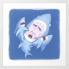 Nic Cage is Sharks! Art Print