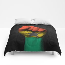 Ghana Flag on a Raised Clenched Fist Comforters