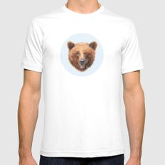 Brown Bear portrait Mens Fitted Tee White SMALL