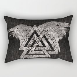 Valknut Symbol and Raven Rectangular Pillow