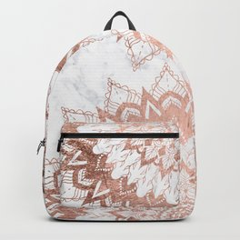 Modern chic rose gold floral mandala illustration on trendy white marble Backpack