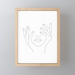 Minimal Line Art Woman with Hands on Face Framed Mini Art Print