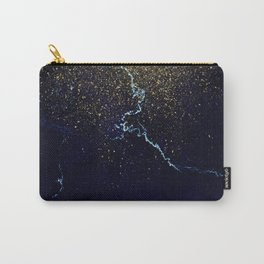 Golden Confetti on Neon Blue Carry-All Pouch